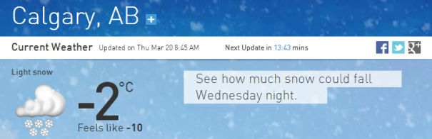 Calgary weather 3202014
